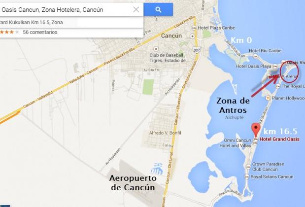 mapa de antros en cancun