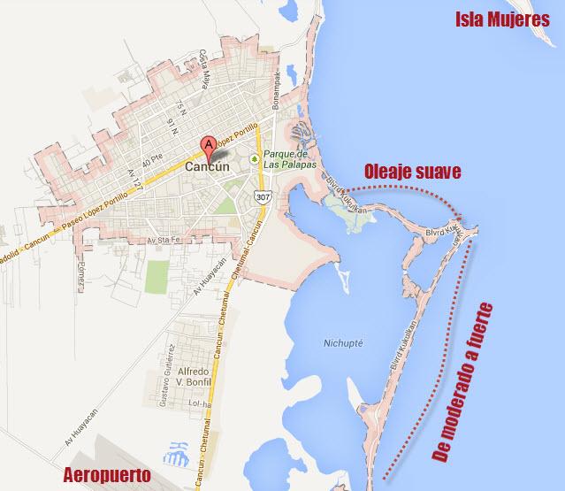 mapa oleaje en cancun