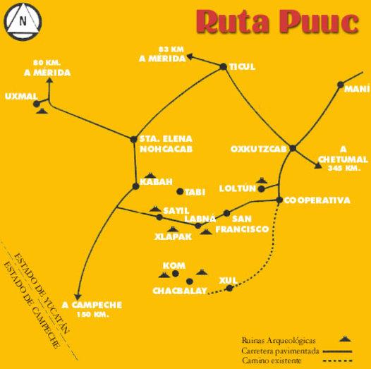 mapa ruta puuc