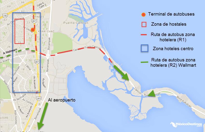 Mapa del centro de cancun